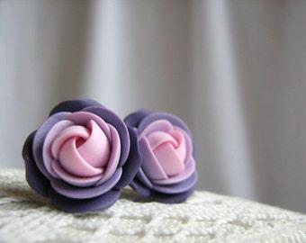 Polymer clay earrings - Light pink, violet rose flower stud earrings