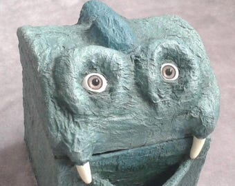 Paper Mache OOAK Green Monster Box