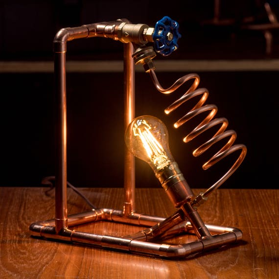 Copper Pipe Table Lamp With Valve Switch Steampunk Table