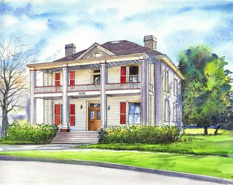 Custom Watercolor House Portrait, Home Painting from photo, House Illustration, Real Estate Gift, Ink and Watercolor Home Portrait