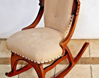 Vintage French Country Rocking Chair Fabric Petite Size By Pelham Shell  Leckie Insured Nationwide Shipping Available