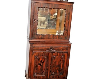 1e09a5c90f9cb Stunning Antique Chinese Rosewood Altar China Cabinet Mirrored locking top