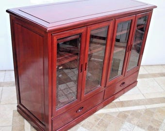 Sideboard Buffet Cabinet Solid Rosewood Beveled Glass Doors 6 Shelves  Rolling Server Insured Safe Nationwide Shipping Available