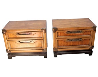 Nightstands Pair Basic Witz Corp Retro Asian Style Walnut Chests Set Two  Drawers Insured Safe Nationwide Shipping Available
