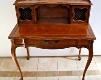 Vintage Hammary Chippendale Writing Secretary Desk Embossed Leather Desktop  Natiowide Shipping Available Please Call For Best Rates