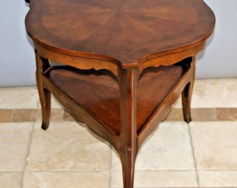 Antique Two Tier End Side Table With Drawer And Bottom