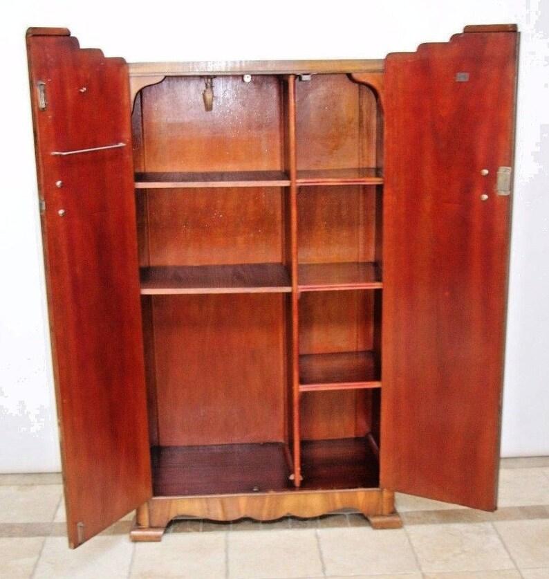 Original British Art Deco Wardrobe Closet Removable Interior Shelves Hangar Rod Insured Safe Nationwide Shipping Available