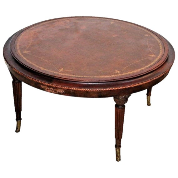 Magnificent Antique French Round Coffee Table Mahogany Embossed Leather Large Lip Edge Lamtechconsult Wood Chair Design Ideas Lamtechconsultcom