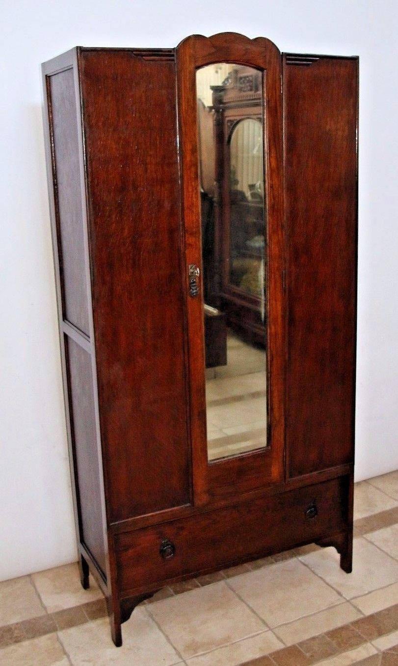 Vintage Locking Door Tiger Oak Mission Style Wardrobe