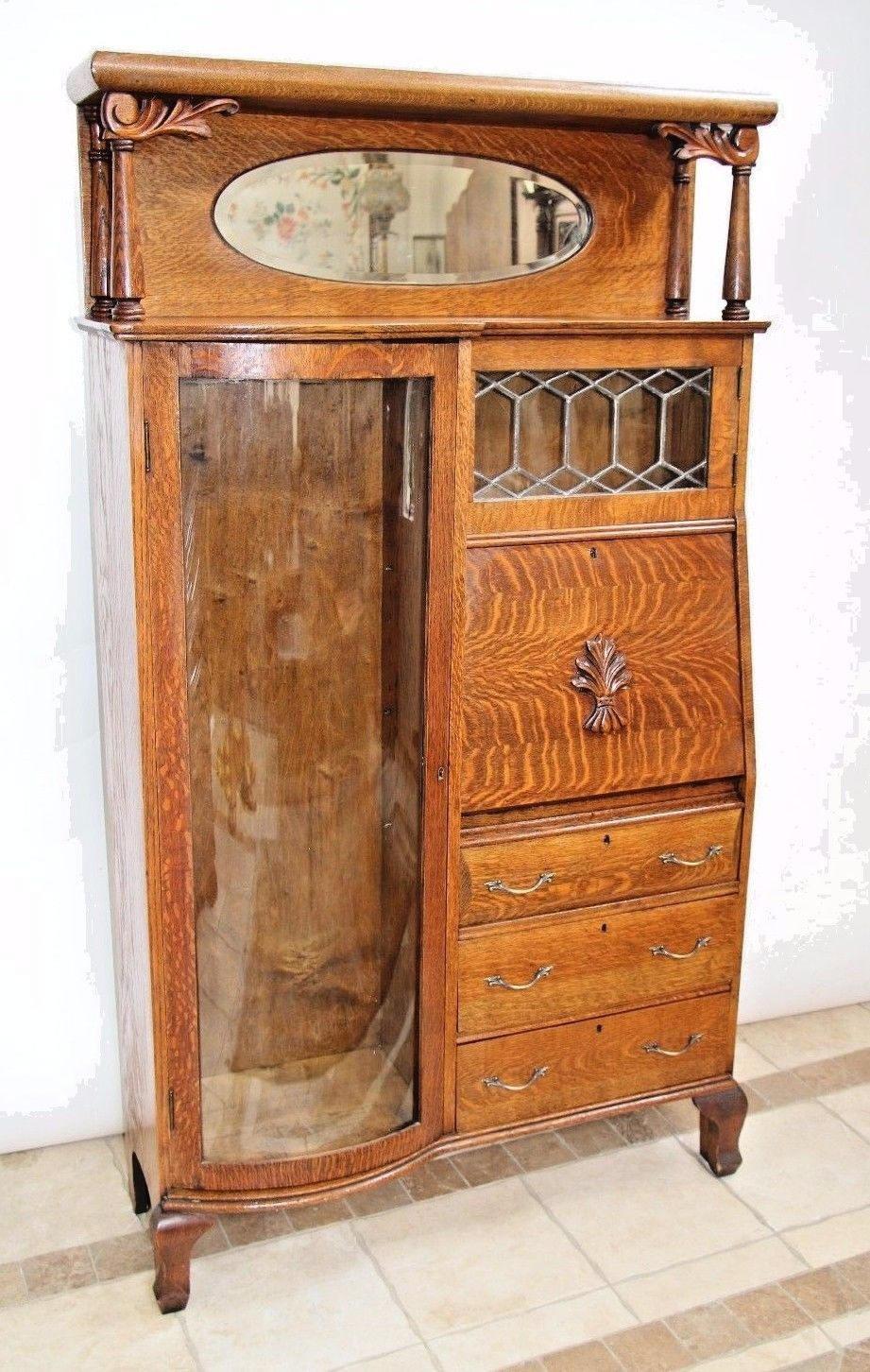 Antique Tiger Oak Side By Side Double Bookcase Secretary