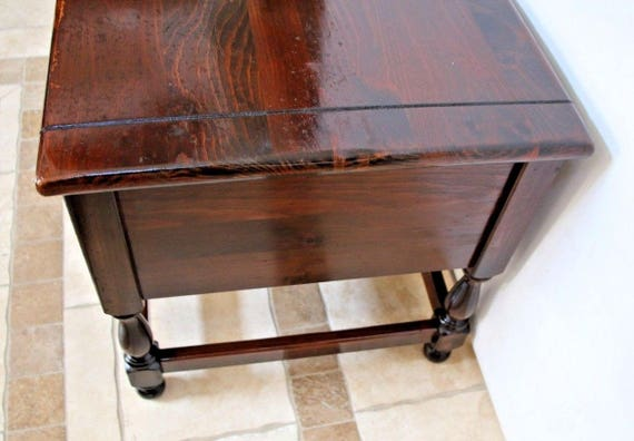 Superb Vintage Ethan Allen Dark Antiqued Pine Old Tavern Two Drawer End Table Insured Nationwide Shipping Available Please Call For Shipping Rates Gmtry Best Dining Table And Chair Ideas Images Gmtryco