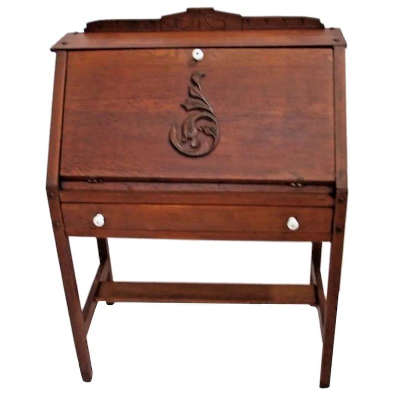 Antique Secretary Desk Etsy >> Antique Mission Style Secretary Writing Ladies Desk Solid Oak Insured Safe Nationwide Shipping Available