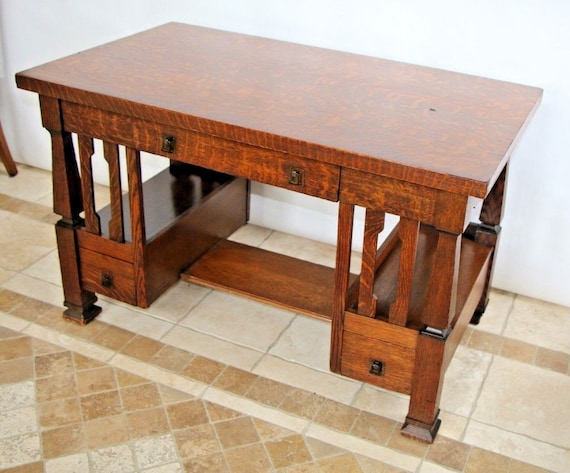 image 0 - Antique Arts & Crafts Mission Style Desk Writing Table Three Etsy