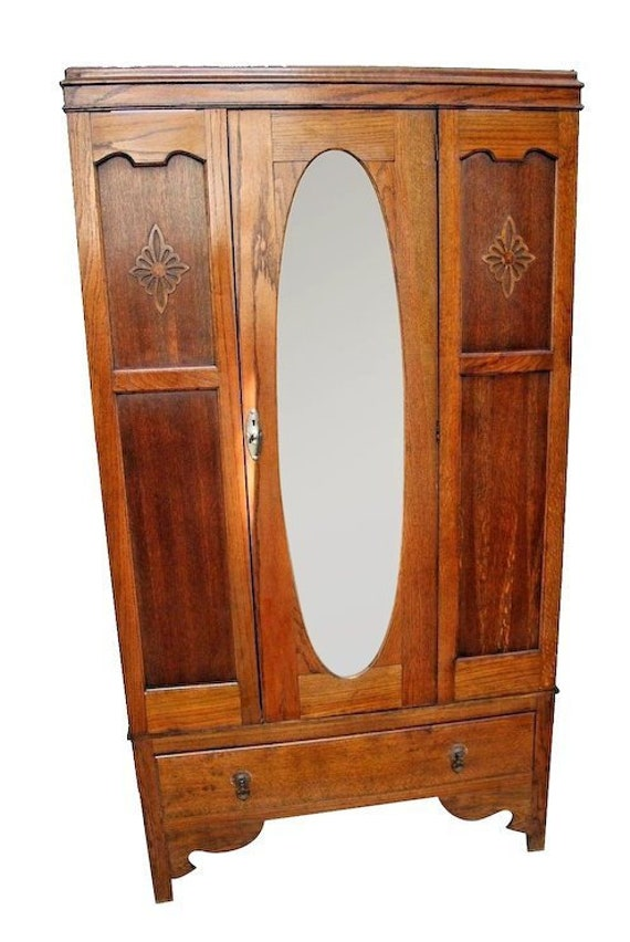 Delicieux Vintage Wardrobe Closet Tiger Oak Hangar Center Door Oval Beveled Mirror  Drawer Nationwide Shipping Available Please Call For Best Rates