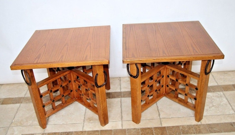 Rustic Western Retro Pair Oak Veneer End Tables Night Stands Horse shoe  theme Insured safe nationwide shipping available