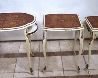 Vintage French Nesting Tables Gold White Finish original Patina and wear marks Insured safe nationwide shipping available