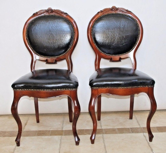 Pleasant Set Of French Provincial Style Carved Wood Black Leather Accent Chairs Insured Safe Nationwide Shipping Available Ncnpc Chair Design For Home Ncnpcorg