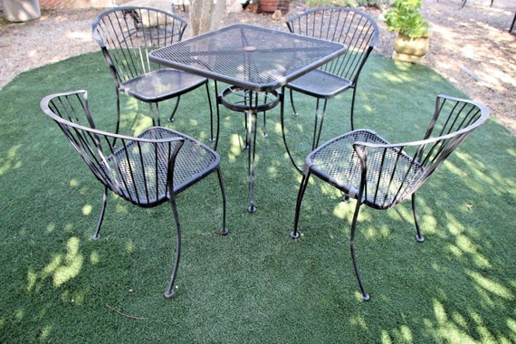 Vintage Carolina Forge Chairs And Iron Table Patio Set Mcm Etsy