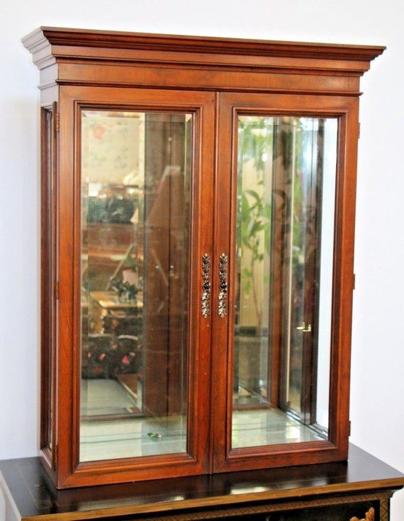 Gorgeous Lighted Tabletop Wall Curio, Tall Curio Cabinet