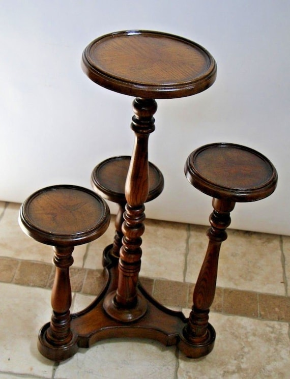 Vintage Turned Oak Four Level Plant Stand Multi Height Round Etsy