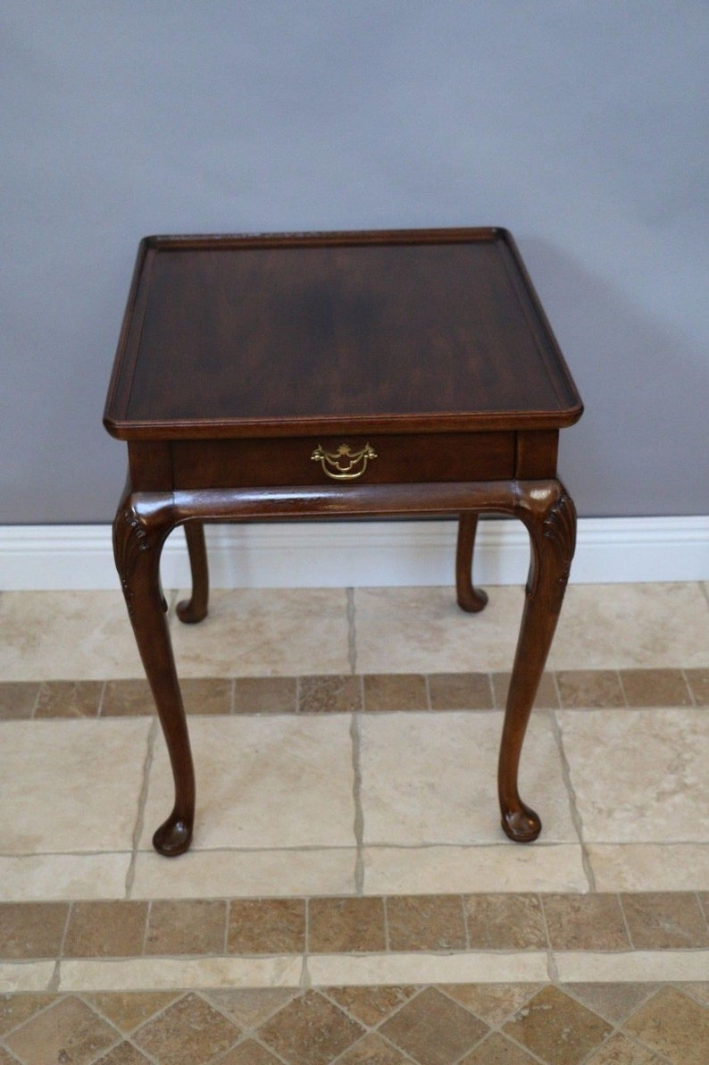 Queen Anne Mahogany Top Lip Occasional End Table Drawer Aston Court By  Henredon