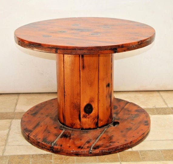 Vintage Industrial Heavy Duty Wooden Spool Table Acrylic Resin Top And Nationwide Shipping Available Please Call For Best Rate