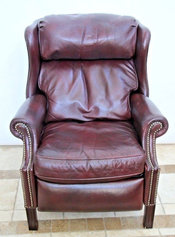 Enjoyable Vintage Bradington Young Oxblood Leather Brass Tack Wingback Recliner Pdpeps Interior Chair Design Pdpepsorg