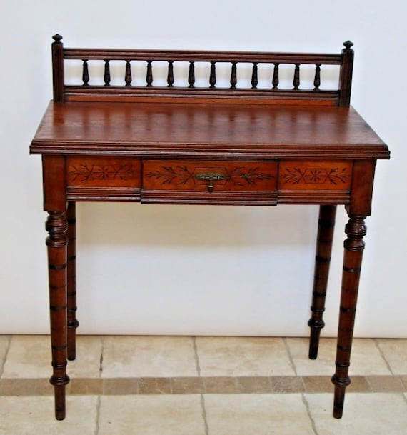 image 0 - Small Antique French Solid Hardwood Writing Desk Console Table Etsy