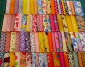 HTF OOP 78 Bright mixed prints yellow pink blue purple orange rotary cut charm pack 4 quot squares 100 cotton fabric quilt