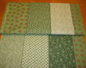 large striped multi calico prints green shades tiny red rose fabric by the yard