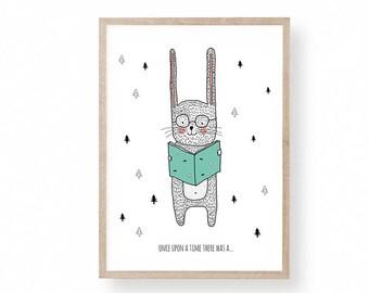 Rabbit Illustration, Nursery Art, Kids Room Art