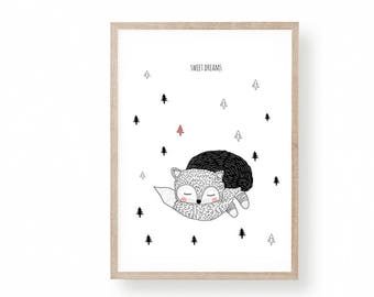 Printable Nursery Art, Fox Illustration, Nursery Art, Kids Room Art, Sweet Dreams Illustration