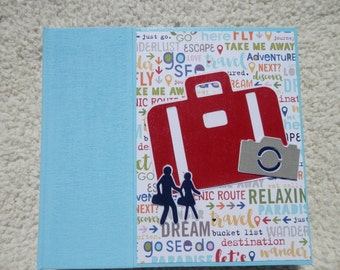 6 x 6 Light Blue Vacation or Travel Scrapbook Album