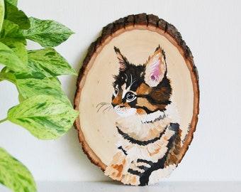 Pet Portrait Custom Painting on Wood Slice | Dog Painting, Personalized Dog or Cat Painting, Pet Memorial, Dog Mom Gift, Rustic Pet Painting