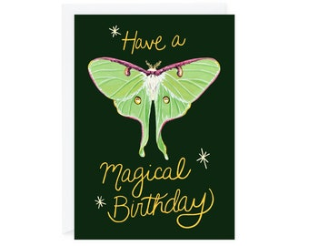 "Have a Magical Birthday Greeting Card, 5""x7"" Lunar Moth, Happy Birthday Card, Magical Moths Whimsical, Painted"