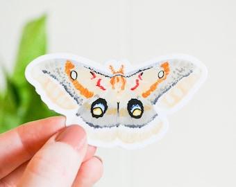 "Polyphemus Moth Sticker, Die Cut 3"" x 1.61"", Handmade Vinyl Sticker from Acrylic Painting, Moths Sticker Collection Set, giant silkmoth"