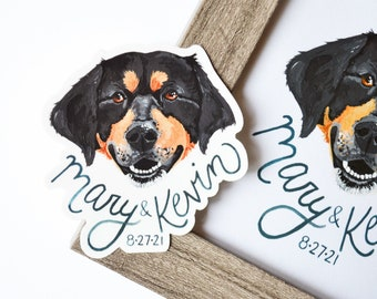 """Custom Pet Wedding Stickers & Framed Original Painting, 3"""" Vinyl Stickers, Personalized Dog Cat, Wedding Favors, Wedding Names and Date"""