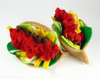 Los Tacos Felt Food Set for Play Kitchen Comes Apart. Play, learn, teach or display. Fine motor skills. Zero Waste