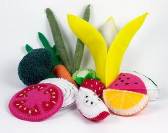 Fruits and Vegetables Felt Food Set for Play Kitchen. Play, learn, teach or display. Banana, Broccoli, Tomato, Orange, Onion, Kiwi & More