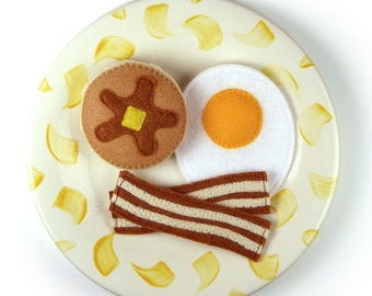 Breakfast Felt Food Set for Play Kitchen with Egg, Bacon and Pancake, zero waste