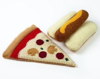 Felt Food, Pizza  and Hotdog, Play Food, Pretend Food, Play Kitchen, Busy Toddler Toy, Focus Toy, Montessori, Play Toys, Pretend Food
