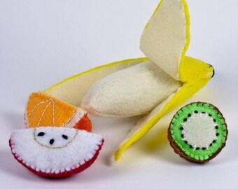 Tropical Fruit Felt Food Set for Play Kitchen - Banana (remove from peel), Apple, Orange, Kiwi.