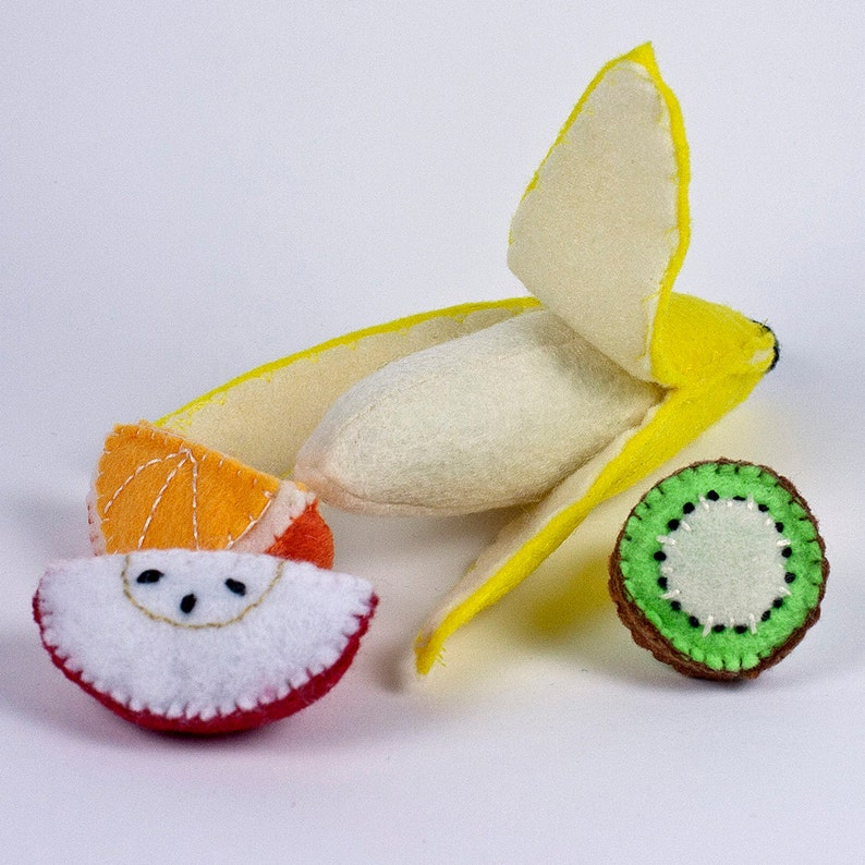 Tropical Fruit Felt Food Set for Play Kitchen  Banana remove image 0