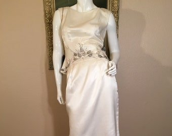 1960s Elinor Gay Dress Size 4. Vintage Beaded Evening 2pc Cocktail Dress Small. Mad Men Beaded Top + Skirt 6. Ivory Silk Second Wedding Suit