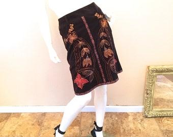 Nanette Lepore Bohemian Office Skirt. Dark Brown Corduroy Skirt Size Small. Unique Embroidered Art Skirt SZ 4. Modest A-Line Skirt Size 6.
