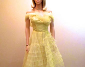 Yellow Vintage 50s Prom Dress XXS. Emma Domb Strapless Dress. Satin & Tulle Dress. Mad Men Evening Gown. Tea Length Rockabilly Dress 00 0