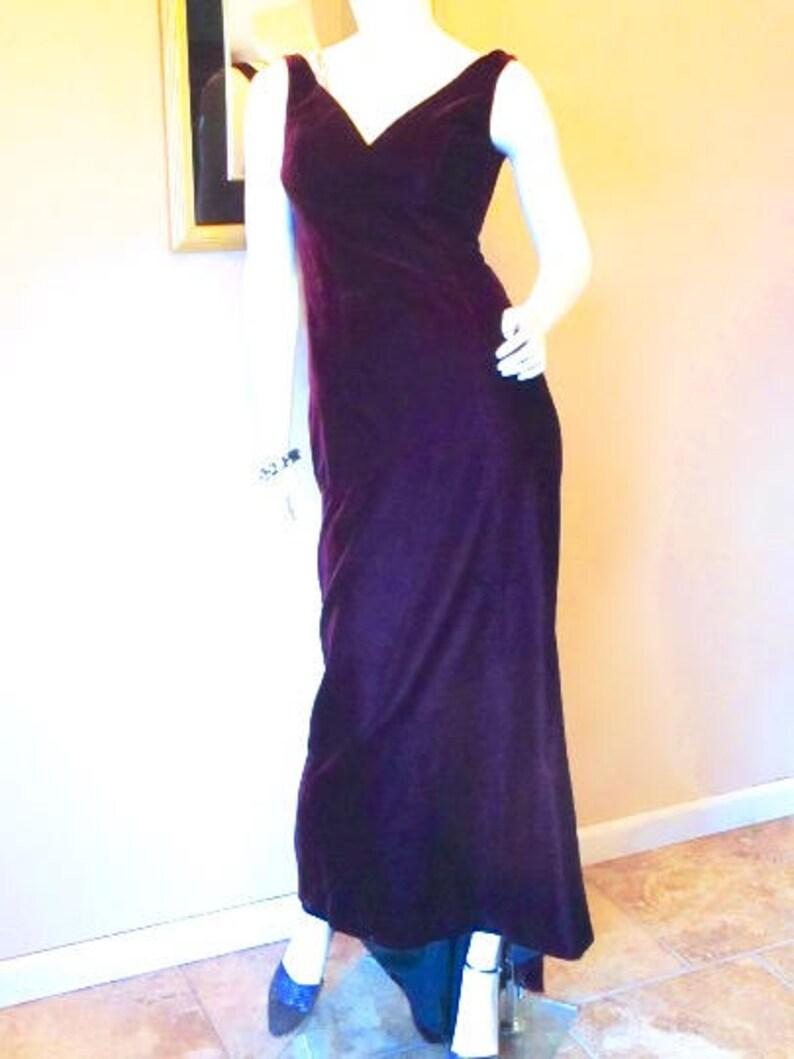 0b7e28194cd7 Vintage ESCADA Evening Gown XS. Purple Silk Velvet 30s Style | Etsy