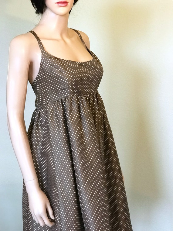 Vintage Silk Sundress With Pockets Mushroom Silk Polka Dot Etsy