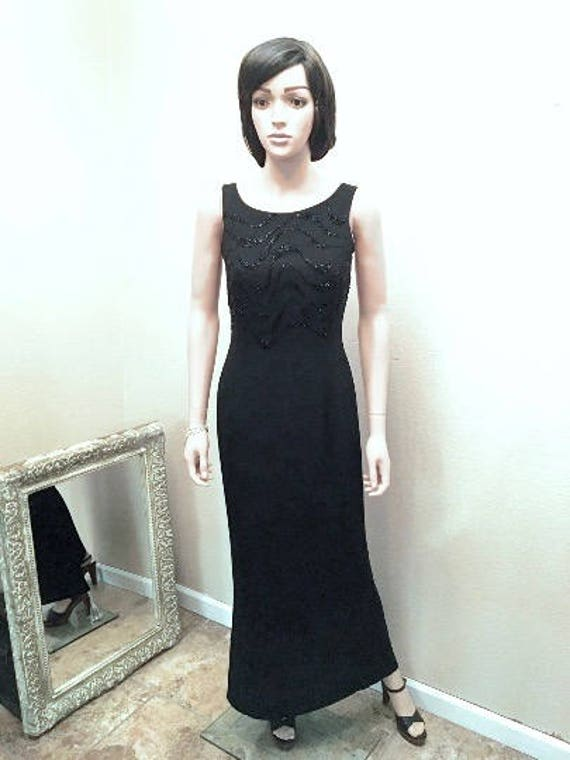 Beaded Black Evening Gown Size 2. Low