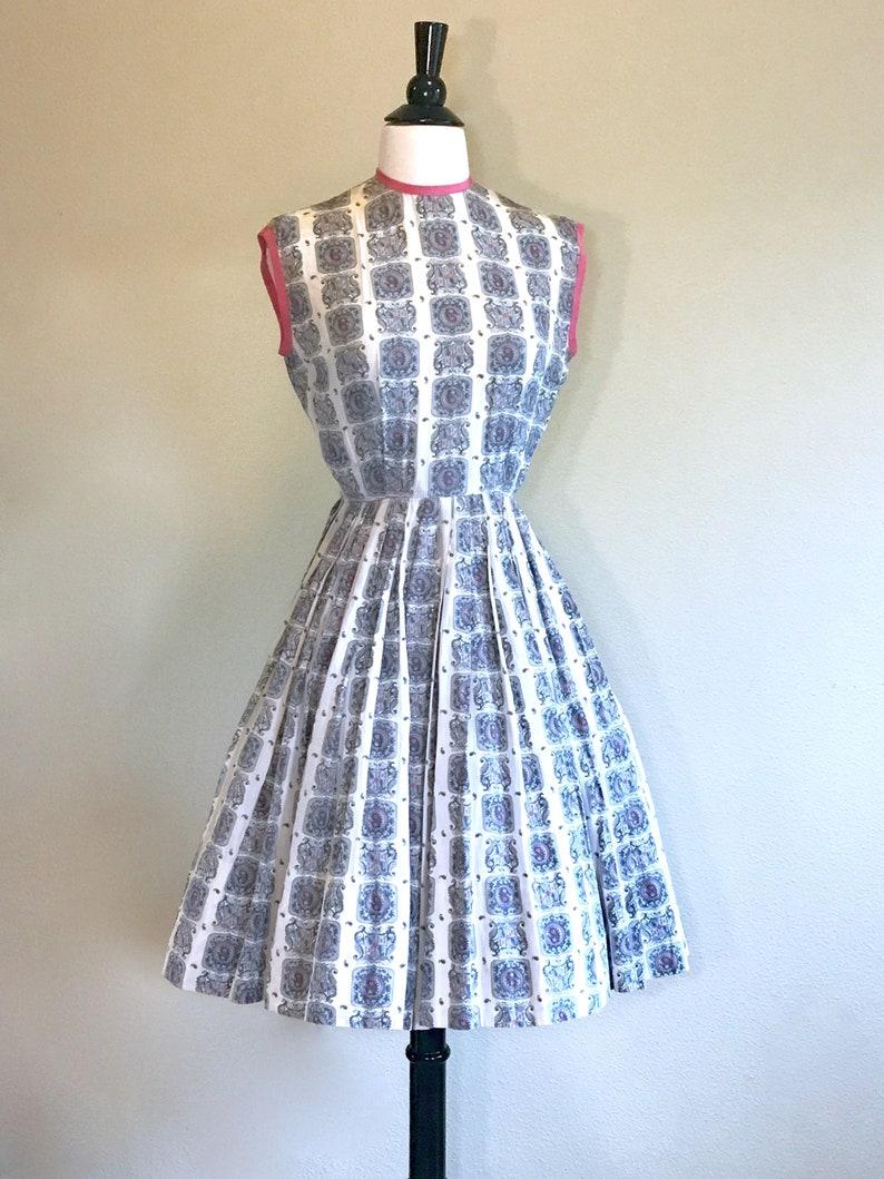 eb5bd4bad8b8 Vintage 50s New Look Dress Size XXS. Pink   Grey Wedding Guest